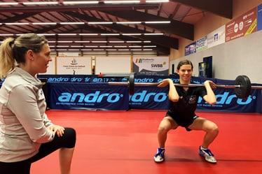Athletiktraining mit Tischtennisspielerin Lea Lachenmayer im Tischtenniszentrum Stuttgart-Böblingen